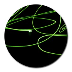 Light Line Green Black Round Mousepads
