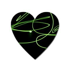 Light Line Green Black Heart Magnet