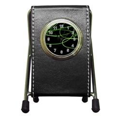 Light Line Green Black Pen Holder Desk Clocks