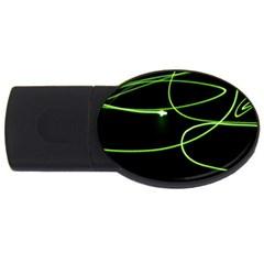Light Line Green Black USB Flash Drive Oval (4 GB)