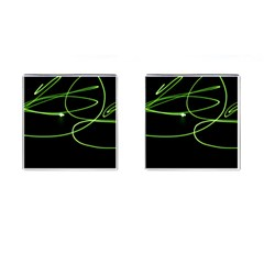 Light Line Green Black Cufflinks (square)
