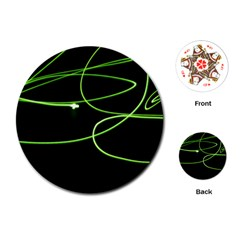 Light Line Green Black Playing Cards (Round)