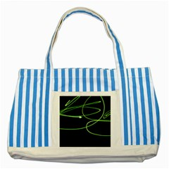 Light Line Green Black Striped Blue Tote Bag