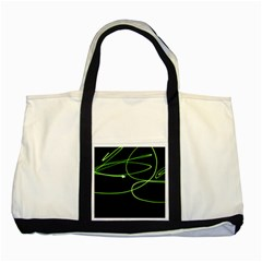 Light Line Green Black Two Tone Tote Bag