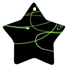 Light Line Green Black Star Ornament (Two Sides)