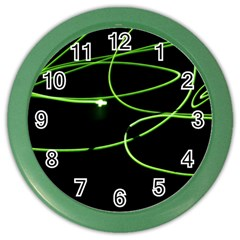 Light Line Green Black Color Wall Clocks