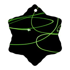 Light Line Green Black Snowflake Ornament (Two Sides)