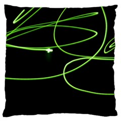 Light Line Green Black Large Cushion Case (Two Sides)