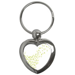 Leaves Leaf Green Fly Landing Key Chains (heart)
