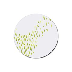 Leaves Leaf Green Fly Landing Rubber Round Coaster (4 Pack)