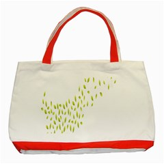 Leaves Leaf Green Fly Landing Classic Tote Bag (Red)