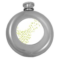 Leaves Leaf Green Fly Landing Round Hip Flask (5 oz)