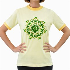 Leaf Green Frame Star Women s Fitted Ringer T Shirts