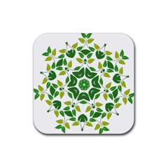 Leaf Green Frame Star Rubber Square Coaster (4 Pack)