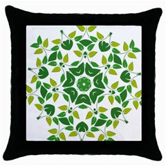 Leaf Green Frame Star Throw Pillow Case (Black)