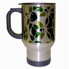 Leaf Green Frame Star Travel Mug (Silver Gray)