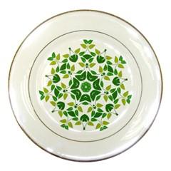Leaf Green Frame Star Porcelain Plates