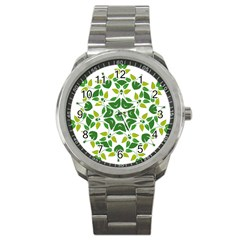 Leaf Green Frame Star Sport Metal Watch