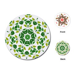 Leaf Green Frame Star Playing Cards (Round)