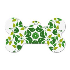 Leaf Green Frame Star Dog Tag Bone (One Side)