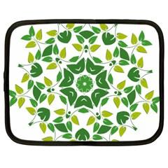 Leaf Green Frame Star Netbook Case (Large)