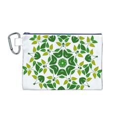 Leaf Green Frame Star Canvas Cosmetic Bag (M)