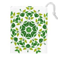 Leaf Green Frame Star Drawstring Pouches (XXL)