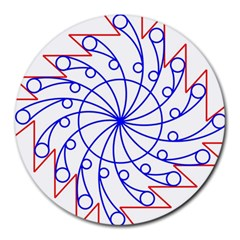 Line  Red Blue Circle Round Mousepads