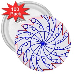 Line  Red Blue Circle 3  Buttons (100 Pack)