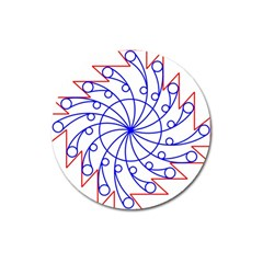 Line  Red Blue Circle Magnet 3  (Round)