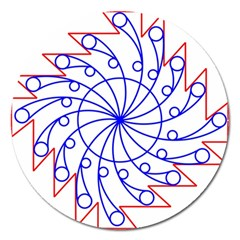 Line  Red Blue Circle Magnet 5  (Round)