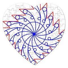 Line  Red Blue Circle Jigsaw Puzzle (Heart)