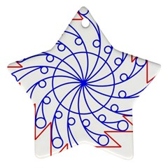 Line  Red Blue Circle Star Ornament (two Sides)
