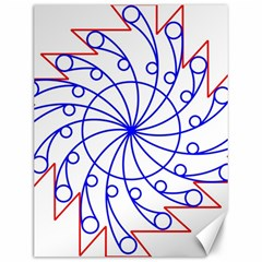 Line  Red Blue Circle Canvas 12  x 16