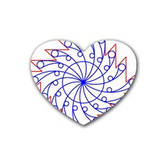 Line  Red Blue Circle Rubber Coaster (Heart)