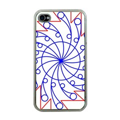 Line  Red Blue Circle Apple iPhone 4 Case (Clear)