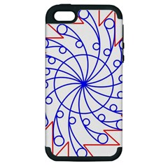 Line  Red Blue Circle Apple iPhone 5 Hardshell Case (PC+Silicone)