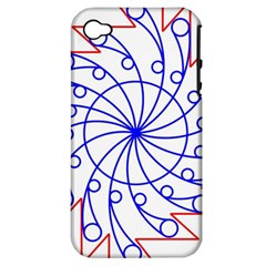 Line  Red Blue Circle Apple iPhone 4/4S Hardshell Case (PC+Silicone)