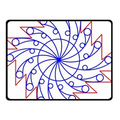 Line  Red Blue Circle Double Sided Fleece Blanket (Small)