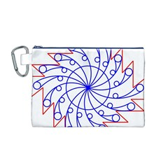 Line  Red Blue Circle Canvas Cosmetic Bag (M)