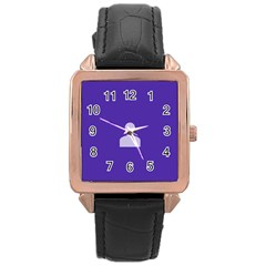 Man Grey Purple Sign Rose Gold Leather Watch