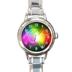 Lines Wavy Ight Color Rainbow Colorful Round Italian Charm Watch