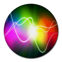 Lines Wavy Ight Color Rainbow Colorful Round Mousepads