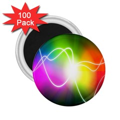 Lines Wavy Ight Color Rainbow Colorful 2.25  Magnets (100 pack)