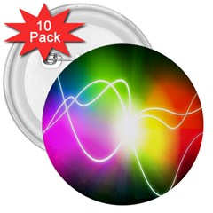Lines Wavy Ight Color Rainbow Colorful 3  Buttons (10 pack)