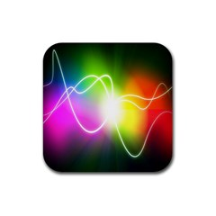 Lines Wavy Ight Color Rainbow Colorful Rubber Coaster (Square)