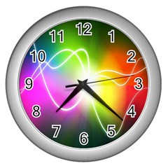 Lines Wavy Ight Color Rainbow Colorful Wall Clocks (Silver)