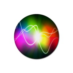 Lines Wavy Ight Color Rainbow Colorful Rubber Coaster (Round)