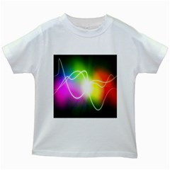 Lines Wavy Ight Color Rainbow Colorful Kids White T-Shirts