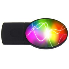 Lines Wavy Ight Color Rainbow Colorful USB Flash Drive Oval (1 GB)